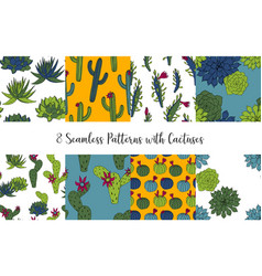 Set of seamless patterns with cactus vector