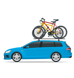 side view station wagon car with two bicycles vector image