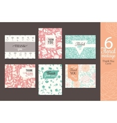 six vintage floral wedding thank you card set vector image