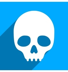 Skull Flat Square Icon with Long Shadow vector