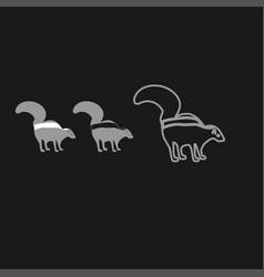 Skunk icon grey set vector