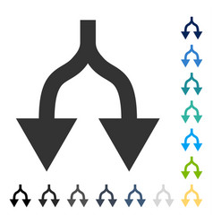 Split arrows down icon vector