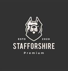 Staffordshire terrier dog hipster vintage logo vector