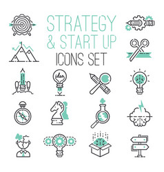 startup strategy outline web busies icon set vector image
