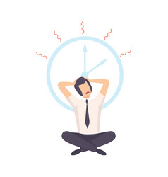 stressed student sitting on floor under clock vector image