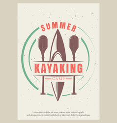summer kayaking retro poster design vector image