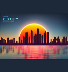 sunset city skyline with modern buildings vector image