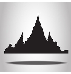 thai temple silhouettes on white background vector image