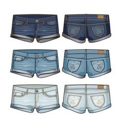 three shades denim womens shorts vector image