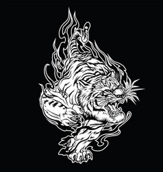 tiger angry annimal face head t vector image