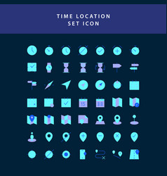 time location flat style design icon set vector image