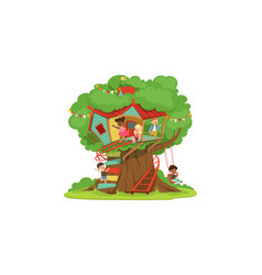 Tree house for kids cute happy boys and girls vector
