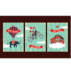 Vintage greeting cards set birthday wedding vector