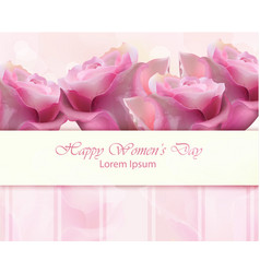 watercolor roses card happy women day vector image vector image