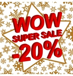 Winter sale poster with wow super sale minus 20 vector