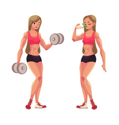 woman bodybuilder working out with dumbbells and vector image