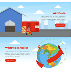 Worldwide shipping landing page templates set vector