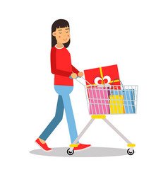 young brunette woman in casual clothes walking vector image