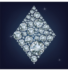 Casino poker Ace card made a lot of diamonds vector image vector image