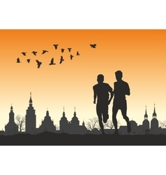 Two runners on the horizon for city vector image vector image