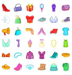woman shopping icons set cartoon style vector image