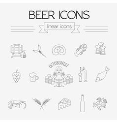 Beer icon set Logos and badges template Linear vector image vector image