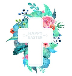 Easter watercolor natural with cross sticker vector