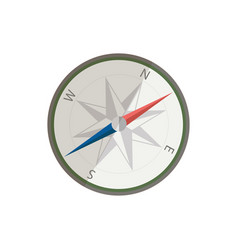 flat silver compass for traveler ui element for vector image vector image