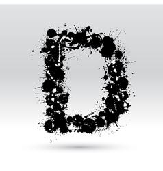 Letter D formed by inkblots vector image vector image
