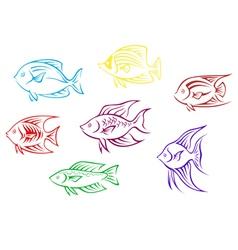 Set of seven aquarium fish silhouettes vector image vector image
