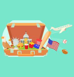 usa travel horizontal banner cartoon style vector image
