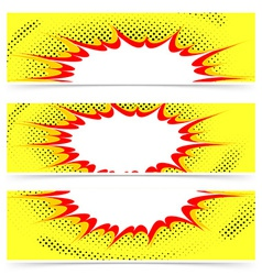 Comics style explosion header or flyer collection vector image vector image