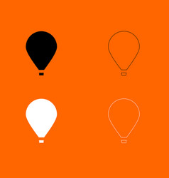 hot air balloon black and white set icon vector image vector image