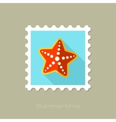 Starfishe flat stamp with long shadow vector image vector image