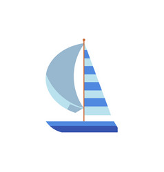 yacht sailing ship boat with a striped sail vector image vector image