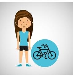 athlete girl bike sport style vector image