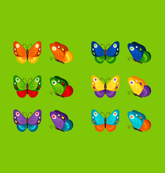 colorful butterflies icons vector image vector image