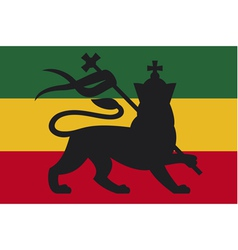 rastafarian flag with the lion of judah vector image vector image