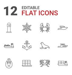 12 marine icons vector image