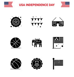 4th july usa happy independence day icon symbols vector