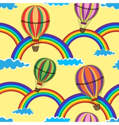 Air Balloon in the Yellow Sky with Clouds Rainbow vector image