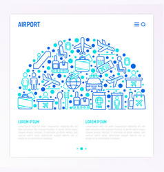 airport concept in half circle vector image
