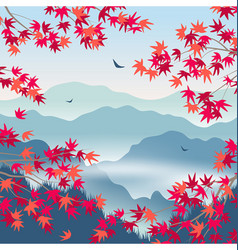 autumn landscape with foggy mountains and vector image