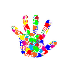Baby hand with colorful hand prints pattern inside vector