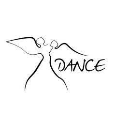 Ballet dancers with wings in motion one line vector