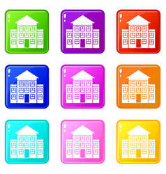 bank building icons 9 set vector image
