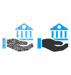 bank building service hand collage of dollars vector image