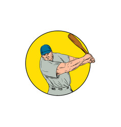 baseball player swinging bat drawing vector image
