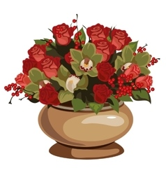 Beautiful bouquet of red roses with decor in vase vector