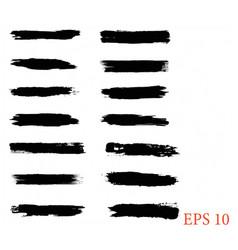 Black line grunge brush strokes ink paint set e vector